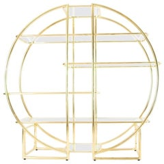 Circular Brass Etagere with Glass Display Shelves