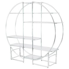 Circular Chrome Etagere with Glass Display Shelves