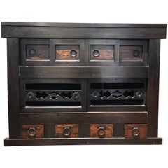 19th Century Japanese Meiji Period Mizuya Tansu Kitchen Cabinet