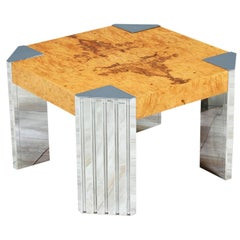 Midcentury Olive Burl Wood and Chrome Side Table