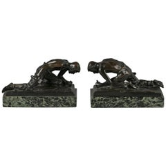 Pair of Austrian Bronze and Marble Figural Bookends, circa 1910
