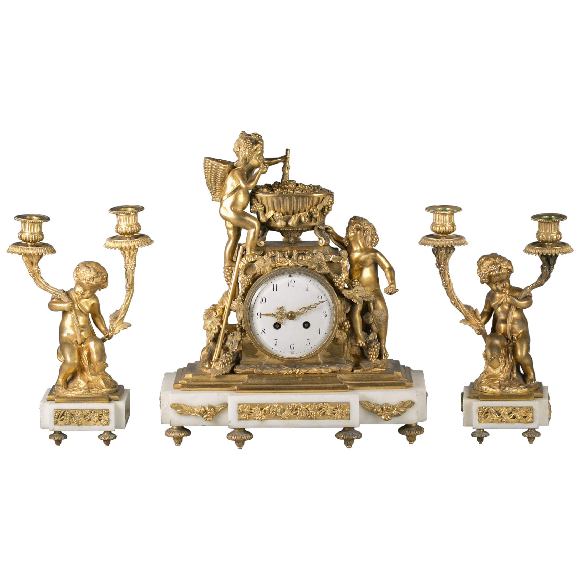 Three Piece French Bronze and Marble Clock Garniture, circa 1875