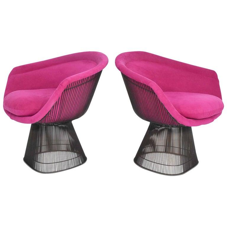 Pair of 1960s Bronze Warren Platner Lounge Chairs