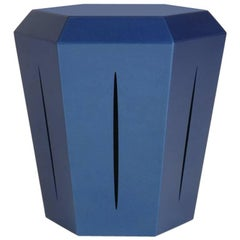 Hedra 14M, Painted Steel Metallic Blue Accent Table by Topher Gent