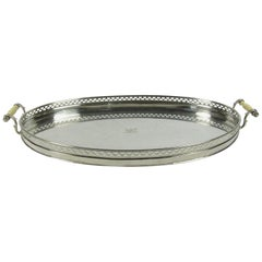 Antique Pierced Silver Two Handled Serving Tray