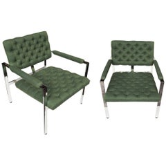 Pair of 1960s Flat-Bar Chrome Club Chairs by Milo Baughman for Thayer Coggin