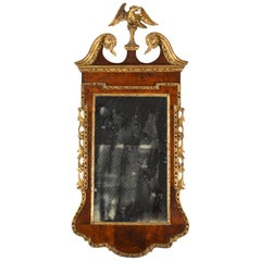 18th Century English Carved Giltwood and Parquetry Eagle Crested Wall Mirror