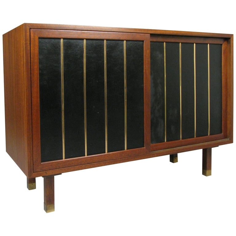 Walnut and Leather Cabinet by Harvey Probber For Sale