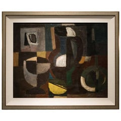 Midcentury Abstract Oil on Canvas by J. Nestle, France, circa 1950
