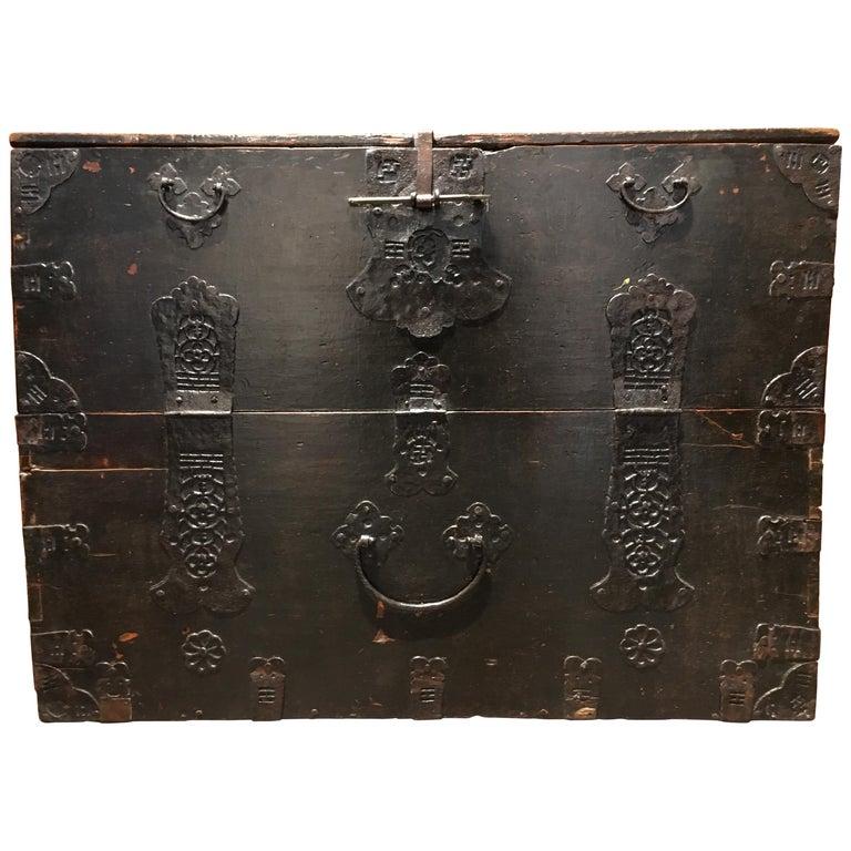 Korean Elm and Iron Blanket Chest, Bandaji, Joseon Dynasty, 18th-19th Century