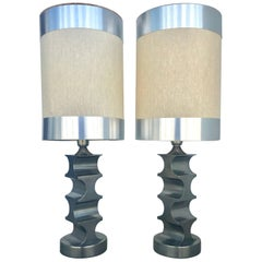 Sculptural Pair of 1970s Italian Steel Table Lamps with Original Custom Shades