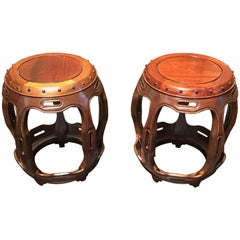 Pair of Late Qing Dynasty Chinese Hongmu Rosewood Drum Stools, circa 1900