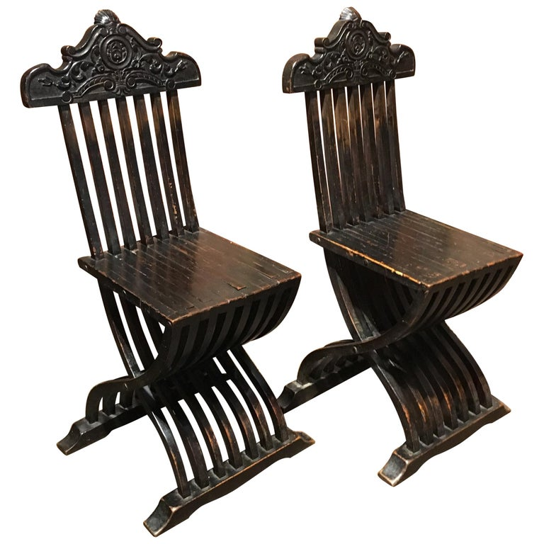 Pair of Italian Renaissance Revival Side Chairs, 19th Century