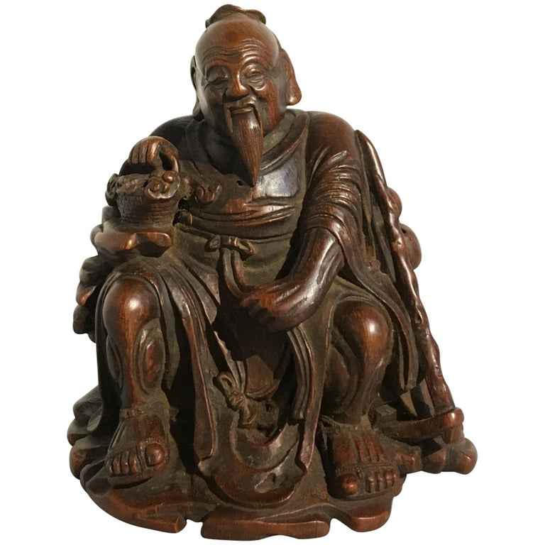 Chinese Carved Bamboo Figure of a Sage, Qing Dynasty, 18th Century For Sale