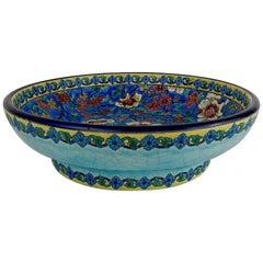 Large Longwy 10.25 in. French Faience Footed Bowl from the Art Deco Period