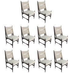 Set of Ten 1960s Brazilian Dining Chairs in Beige Linen