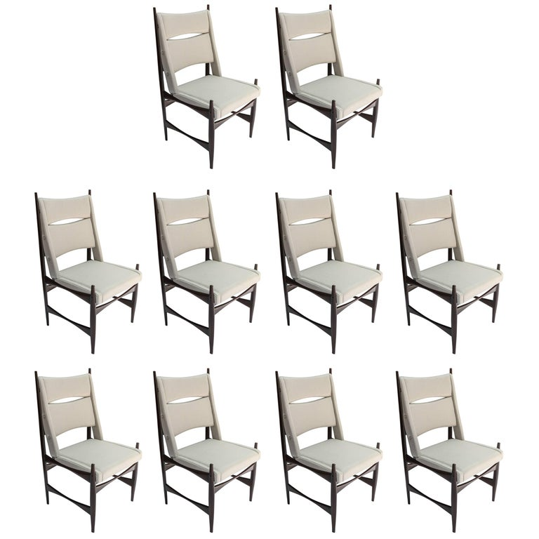 Set of Ten 1960s Brazilian Dining Chairs in Beige Linen For Sale