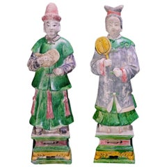 Magnificent Court Attendants in Terracotta - Ming Dynasty, China 1368-1644 AD TL