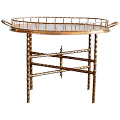 Oval Brass Tray Table with Faux Bamboo Stand