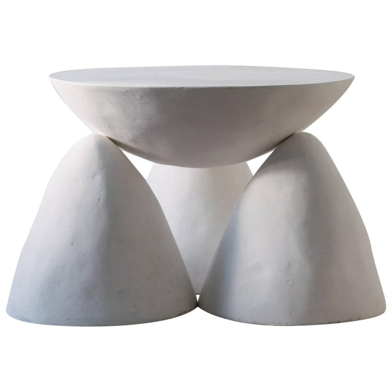 Contemporary Hand-Sculpted Plaster Twyla-03 Occasional Table with Three Legs