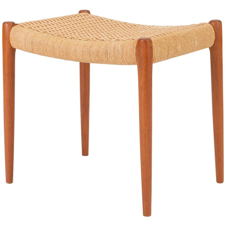 Teak Model 80A Ottoman by Niels Møller with Danish Cord Seat For Sale