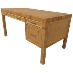 Bielecky Brothers Rattan and Bamboo Desk, circa 1970s