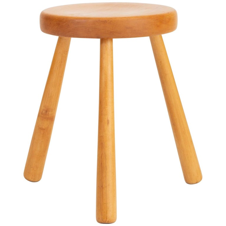 French Rustic Modern Three-Legged Stool in Pinewood