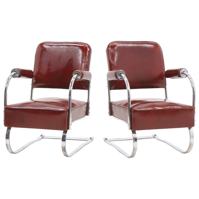 Pair of Lounge Chairs by KEM Weber for Lloyd, Amazing Original Condition For Sale