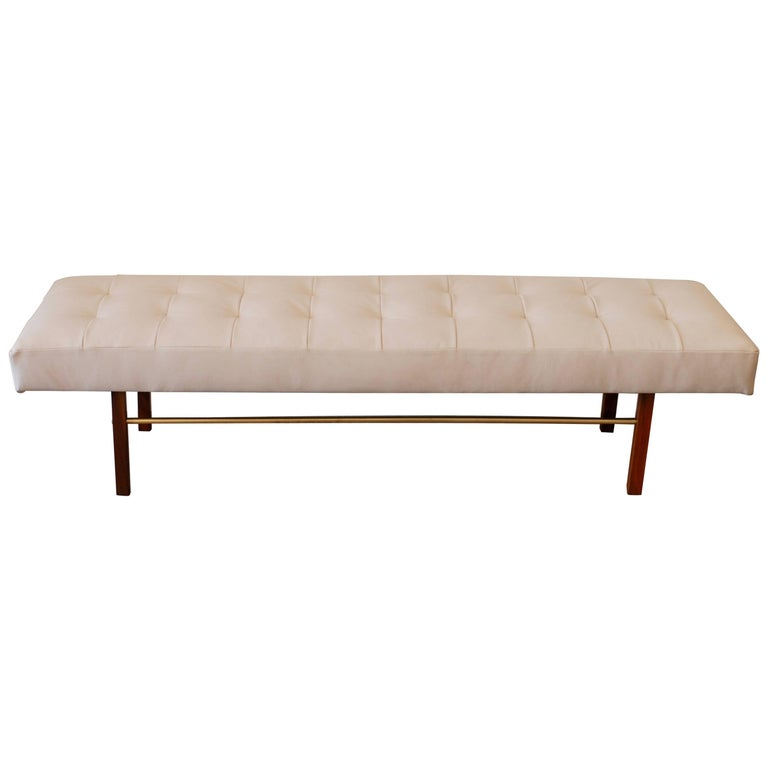 Tufted White Leather and Walnut and Brass Bench