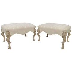 Pair of Louis XV Style Large Stools in Limed Wood with Carved Griffins