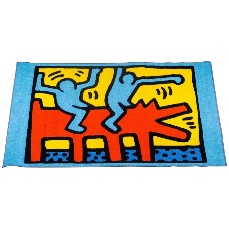 Large Keith Haring Rug, Blue, Red, Yellow, Dancing Figures, Dog