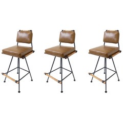 Set of Three Swivel Barstools in the Style of Cleo Baldon