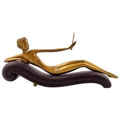 Werkstatte Hagenauer Female Nude Figurine on Wood Stamped, circa 1928