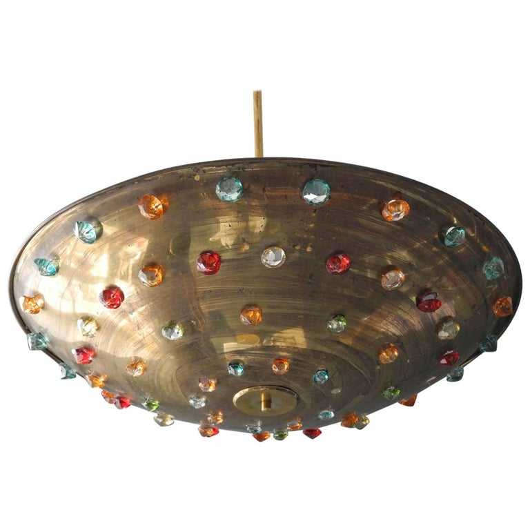 Huge Extra Large Midcentury Brass Ceiling Lamp with Colorful Glass Stones