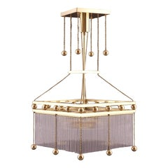 Viennese Crystal Glass and Brass Parlor Chandelier by Woka Vienna
