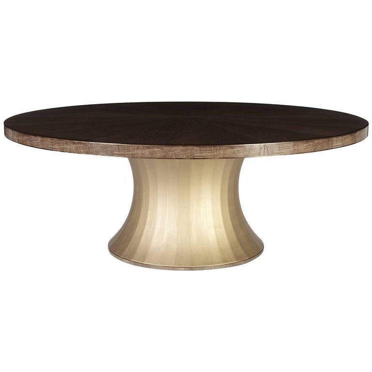 'The Rosebery', Modern Circular Dining Table, Sycamore Dusk and Moon Gold Leaf