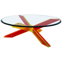 Alexandre Guerriero, Coffee Table, Slats of Altuglas, Crystal Tray, circa 2000