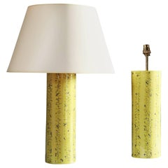 Pair of Yellow Art Pottery Lamps