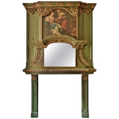 Exceptional Antique Wooden Fireplace, 18th Century