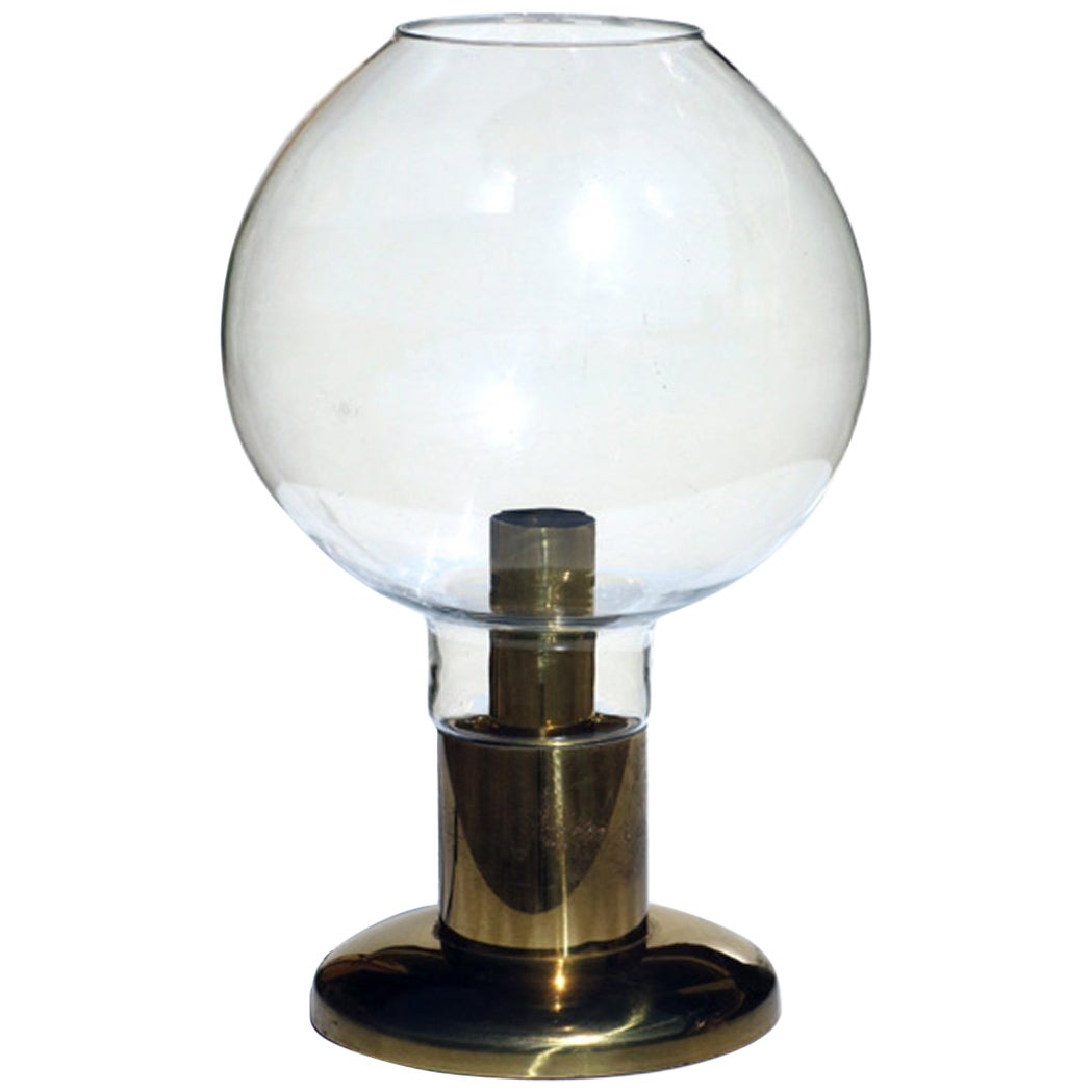 1970s Hollywood Regency Blown Glass and Brass Table Lamp