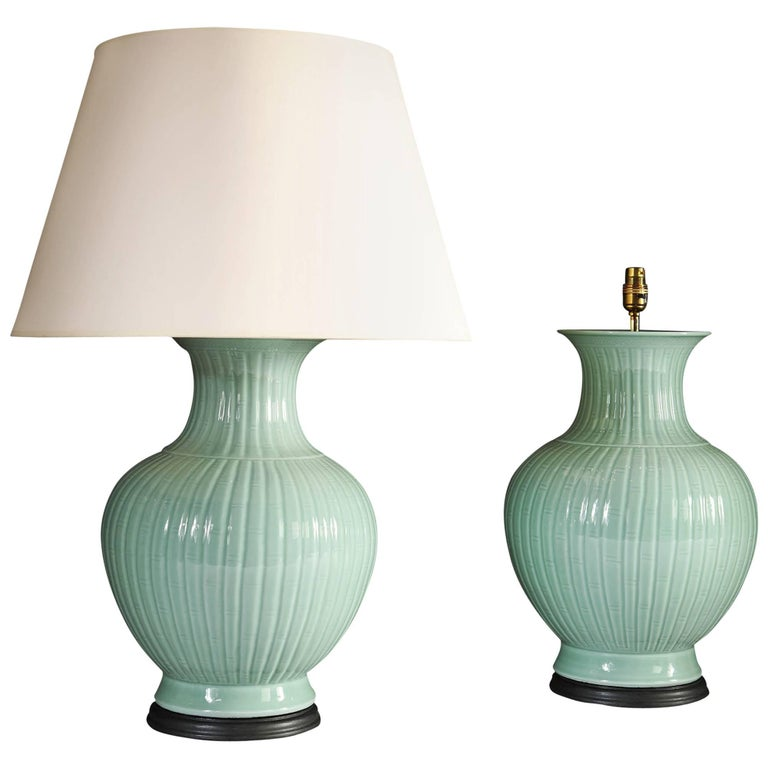 Pair of 20th Century Celadon Lamps
