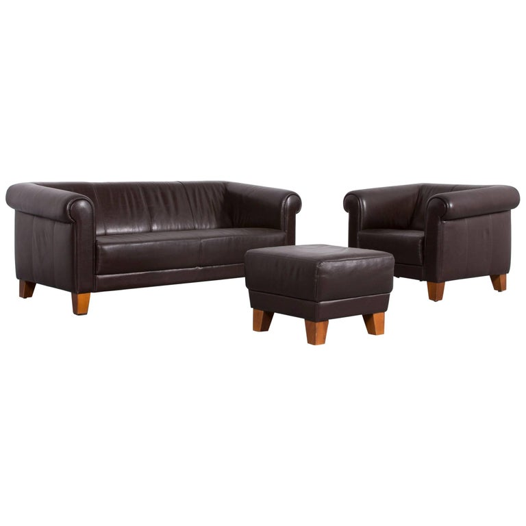 Machalke Sumatra Leather Sofa Set Brown Two-Seat and Armchair