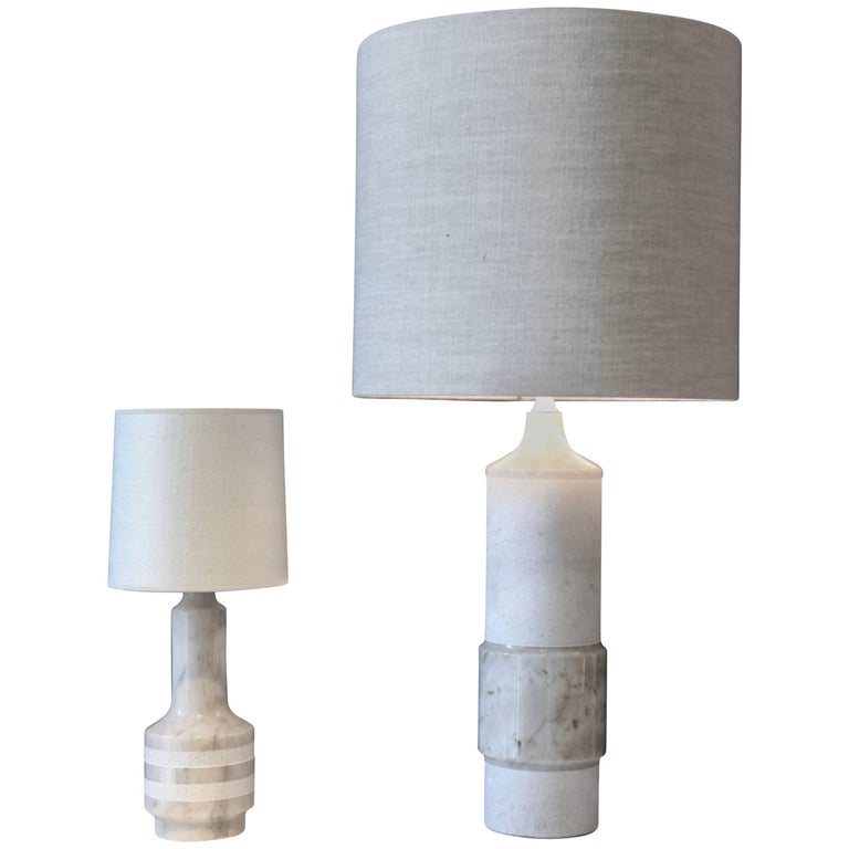 Pair of White Marble Table Lamps, Sweden, 1960 For Sale