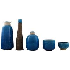 Five Kähler Vases, Denmark, Glazed Stoneware Vases, Nils Kähler, 1960s