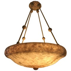 Very Large Rare Swedish Jugendstil Art Nouveau Alabaster Pendant Lamp