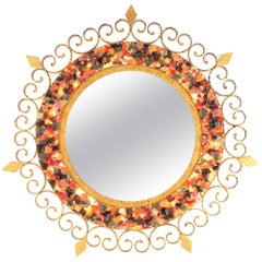 Unique 1960s Illuminated Wrough Gilt Iron Multi Gemstone Mosaic Sunburst Mirror