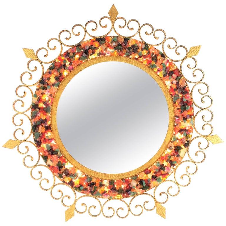 Unique 1960s Illuminated Wrough Gilt Iron Multi Gemstone Mosaic Sunburst Mirror For Sale