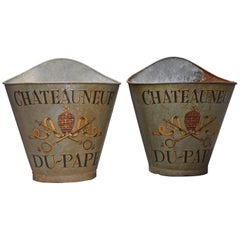 Highly Decorative Pair of Metal Grape Carriers with Painted Decoration