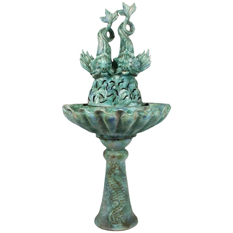 1940s Enameled Ceramic Wall Fountain, Les Fontaines de Provence, France
