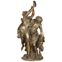 French Patinated Bronze Sculpture of Bacchanalia, after Clodion